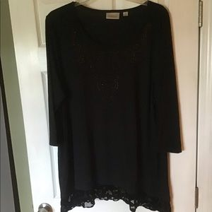 NEW Black Tunic with Sparkle, burn out velvet trim